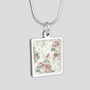 vintage rose Silver Square Necklace
