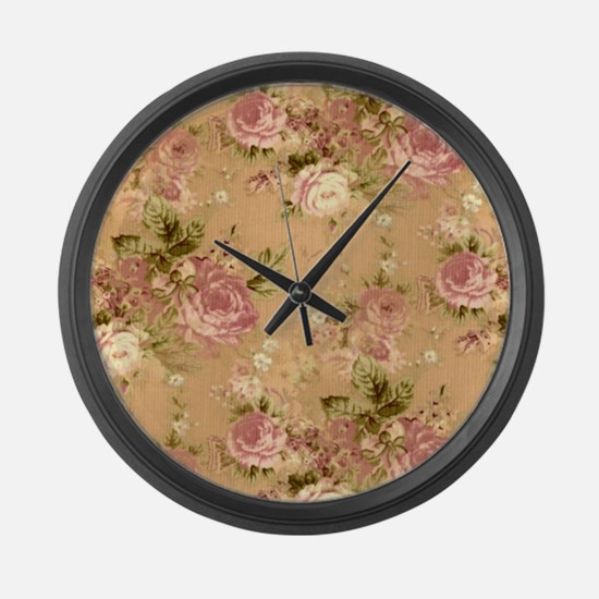 pink roses Large Wall Clock
