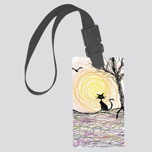 wiccan pagan black kitty cat bla Large Luggage Tag