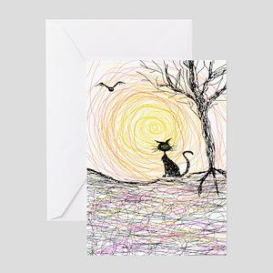 wiccan pagan black kitty cat black h Greeting Card