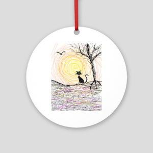 wiccan pagan black kitty cat black  Round Ornament