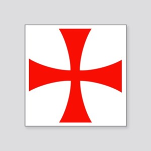 "Templar Red Cross Square Sticker 3"" x 3"""