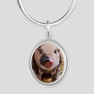 Piglet Silver Oval Necklace