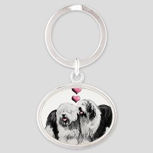 Ole English Sheepdog Pair Oval Keychain