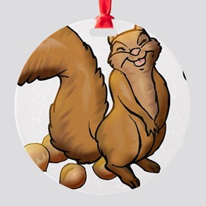 Oh Look A Squirrel Round Ornament