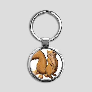 Oh Look A Squirrel Round Keychain