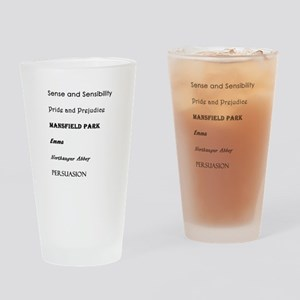 Jane Austen Novels Drinking Glass