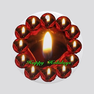 Twelve Rose Candles Happy Holidays Round Ornament