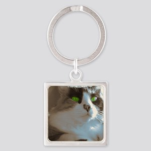 Rose with Green Eyes Square Keychain