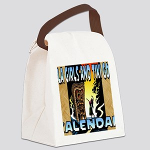 Hula Girls and Tiki Gods Calendar Canvas Lunch Bag