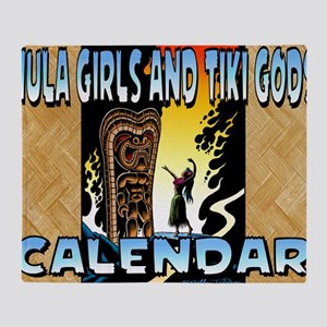 Hula Girls and Tiki Gods Calendar Throw Blanket