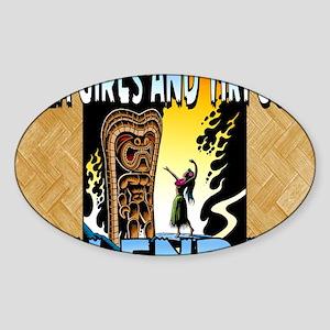 Hula Girls and Tiki Gods Calendar Sticker (Oval)