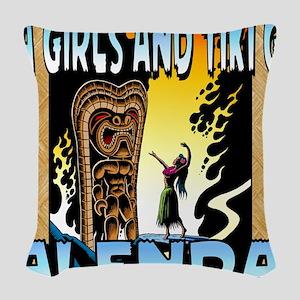 Hula Girls and Tiki Gods Calen Woven Throw Pillow