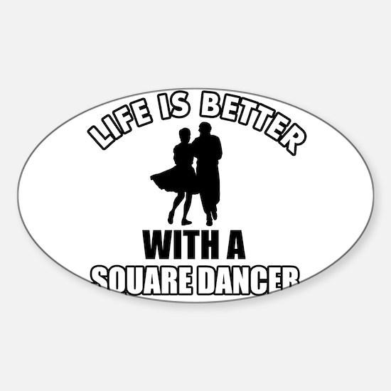 SQUARE dance designs Sticker (Oval)