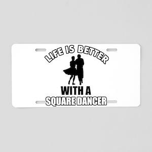 SQUARE dance designs Aluminum License Plate