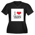 I Love Yarn Women's Plus Size V-Neck Dark T-Shirt