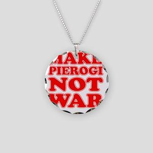 Make Pierogi Not War Apron Necklace Circle Charm