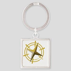 Found it with compass (dark) Square Keychain