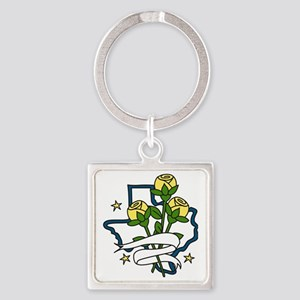 Texas Yellow Roses Square Keychain