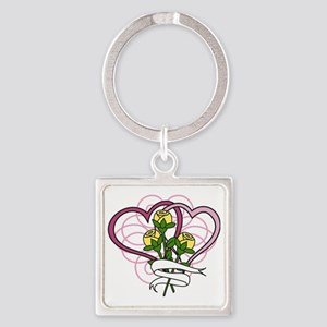 Hearts And Roses Square Keychain