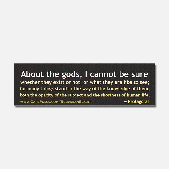 Protagoras About the Gods Car Magnet 10 x 3