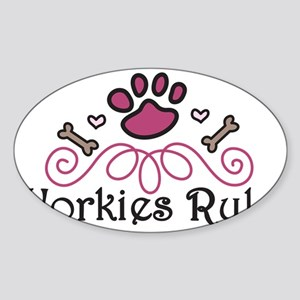 Yorkies Rule Sticker (Oval)