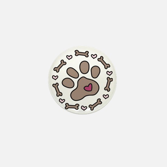 Dog Bone Circle Mini Button