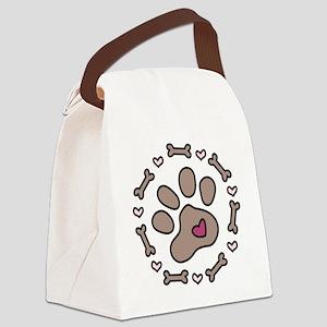 Dog Bone Circle Canvas Lunch Bag