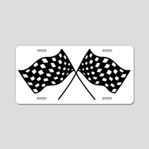 Checkered Flags Aluminum License Plate