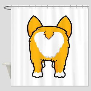 Happy corgi wiggle puppy dog butt Shower Curtain