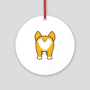 Happy corgi wiggle puppy dog butt Round Ornament