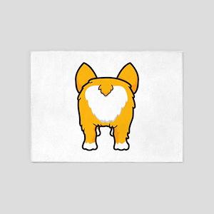 Happy corgi wiggle puppy dog butt 5'x7'Area Rug
