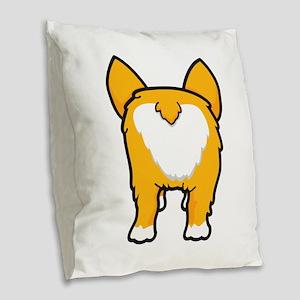 Happy corgi wiggle puppy dog b Burlap Throw Pillow