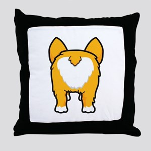 Happy corgi wiggle puppy dog butt Throw Pillow