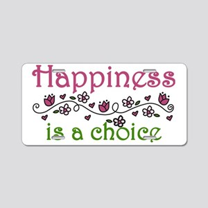 Happiness Aluminum License Plate
