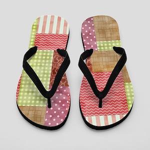 Trendy Patchwork Quilt Flip Flops