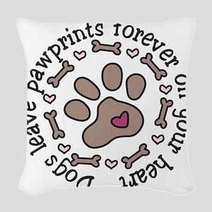 Pawprints Woven Throw Pillow