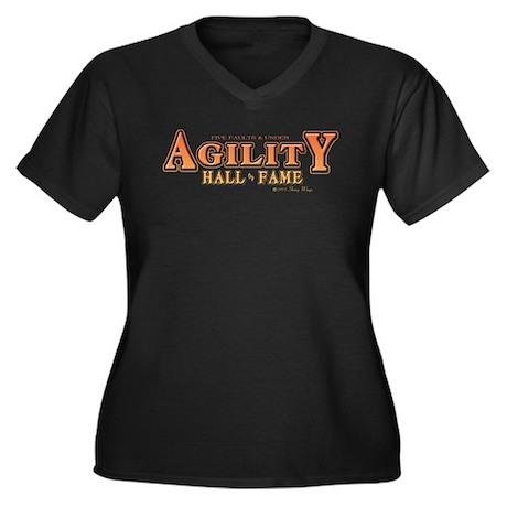 Agility Fame Women's Plus Size V-Neck Dark T-Shirt