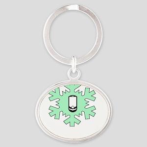 Caching Through The Snow (dark) Oval Keychain