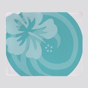 Hibiscus Aqua T-Shirt Throw Blanket