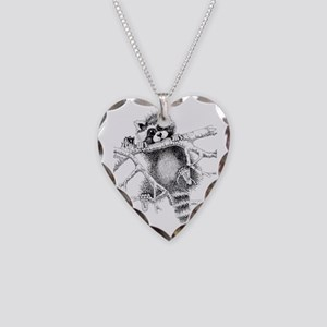 Raccoon Play Necklace Heart Charm