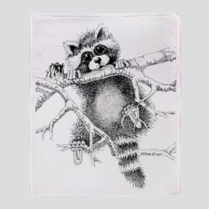 Raccoon Play Throw Blanket