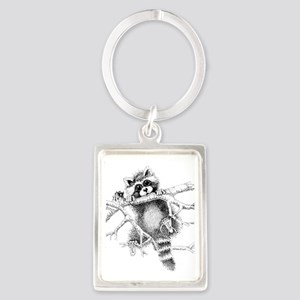 Raccoon Play Portrait Keychain