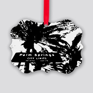 BlacknWhite Palm Springs sign Picture Ornament