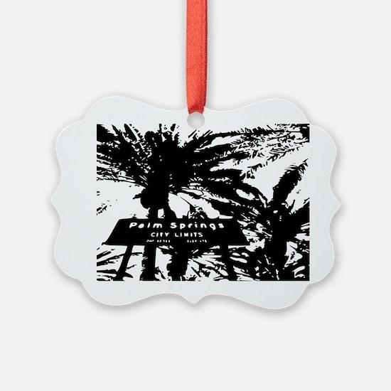BlacknWhite Palm Springs sign Ornament