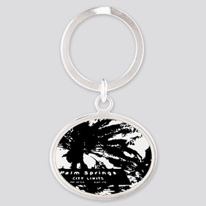 BlacknWhite Palm Springs sign Oval Keychain