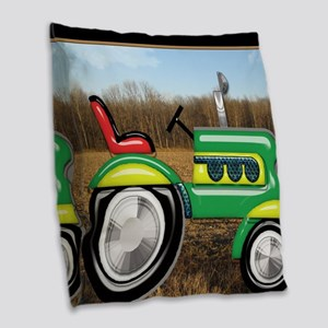 Teriffic Tractor in the Field Burlap Throw Pillow