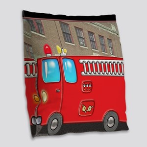 Fire Engine at the Station Burlap Throw Pillow