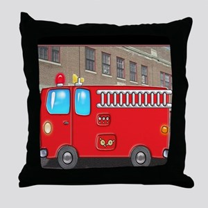 Fire Engine at the Station Throw Pillow