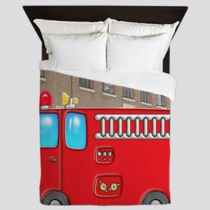Fire Engine at the Station Queen Duvet